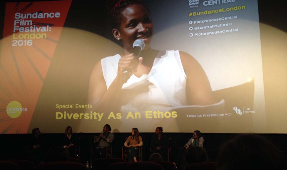 *photo conférence Diversity as an Ethos légende:* Effie Brown, productrice